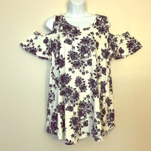 Blue and White Floral Cold Shoulder Blouse